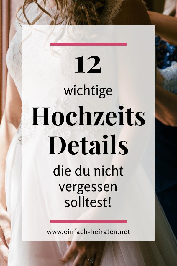 Details Hochzeitsplanung