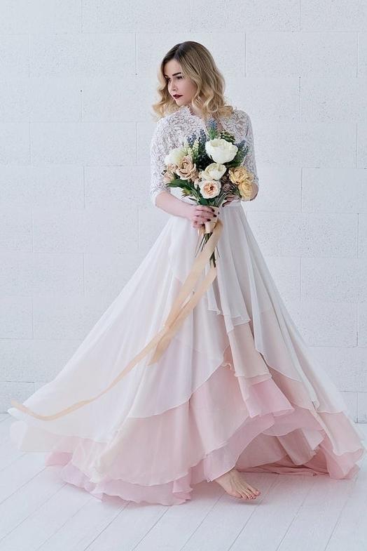 Brautkleid rose-weiß